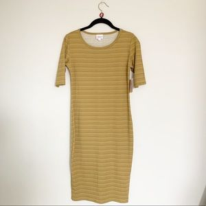Lularoe Cream Brown Khaki Stripe Julia Knit Dress